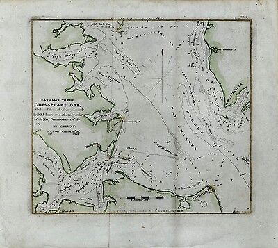 Chesapeake Bay Maryland 1850 Blunt Navy D.P. Adams antique engraved coast map