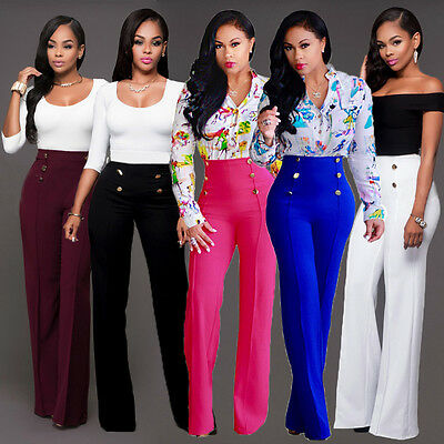 Five species Women High Waist Flared Bell Bottom Pants Casual Party Trousers