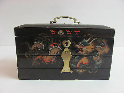 Chinese Republican Period Black Lacquer on Wood Makeup Jewelry Box Dragon Design
