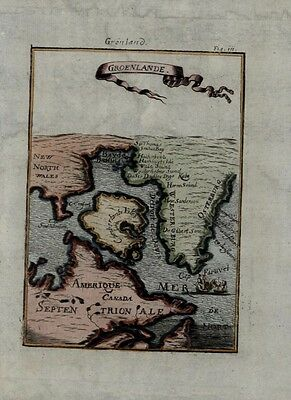 Greenland Canada New North Wales British America ship 1719 Mallet antique map