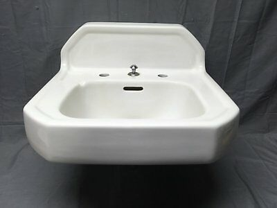 Vtg Mid Century Art Deco Wall Mount White Porcelain Ceramic Kohler SInk 228-17E