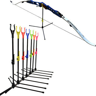 Recurve Bow Stand Archery Shooting Accessories for Indoor / Outdoor Use 7 Color