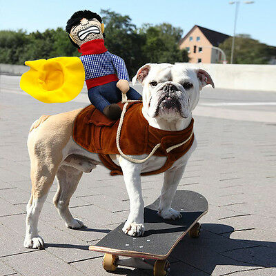 Funny Riding Horse Dog Costume Clothes with Cowboy Hat Cosplay Dog Party Jacket