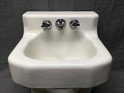 Small Vtg Cast Iron White Porcelain Cast Iron Shelf Top Bath Sink Kohler 229-17E