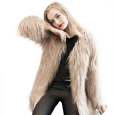 New Ladies Womens Warm Faux Fur Fox Coat Jacket Winter Parka Outerwear KH XL