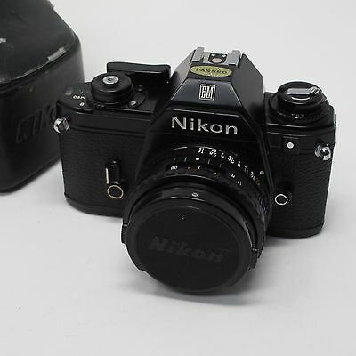 Nikon EM 35mm Film Camera Bundle--Camera, Lens, and Case, Tested