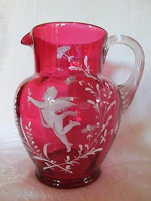 Antique Mary Gregory Ruby Glass Jug Rare Decoration with Cupid and Foliage