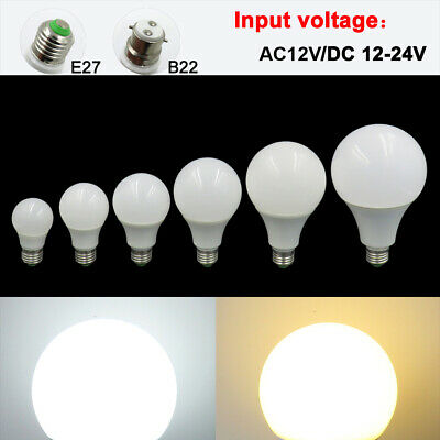 E27/B22 3W 5W 7W 9W 12W 15W LED Light 12-24V Globe Bulb No flicker Lamp #T