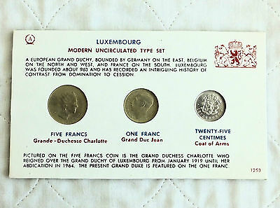 Luxembourg 3 Coin Modern Uncirculated Type Set