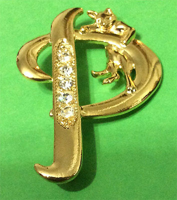 Cat Initial *p* Gold Tone Brooch W/ Crystals Jonette!