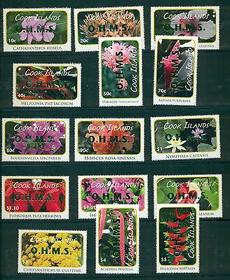 Cook Islands 2010 Flower definitive set with OHMS grn opt #O88-102 MNH CV $34.10