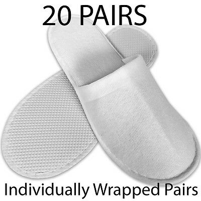 20 pairs SPA HOTEL GUEST SLIPPERS CLOSED TOE TOWELLING DISPOSABLE TERRY TYPE NEW