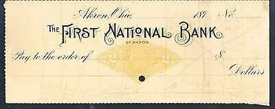 Unused Cheque The First National Bank Of Akron Ohio C1890's
