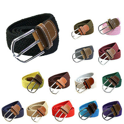 New Fashion Men Canvas Elastic Fabric Leather Woven Braided Stretch Belts Summer