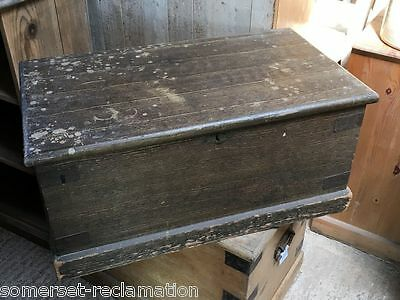 "Reclaimed Victorian Painted Pine Old Blanket Box Strong Chest 33½"" Long"