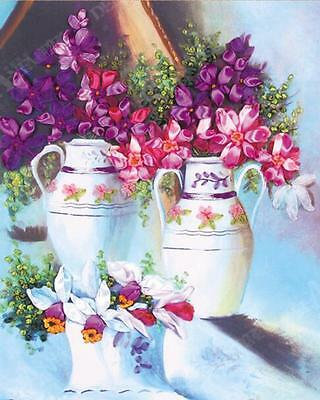 Ribbon Embroidery Kit Flowers and Vases Floral Needlework Craft Kit XZ1018