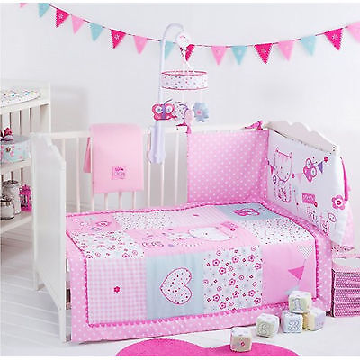 New Red Kite 4 Piece Cosi Cot / Cot Bed Baby Bedding Bale Set Pretty Kitty Pink