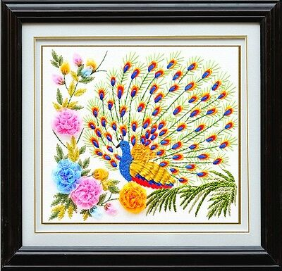 Ribbon Embroidery Kit Peacock Animal 50x50cm RE1008