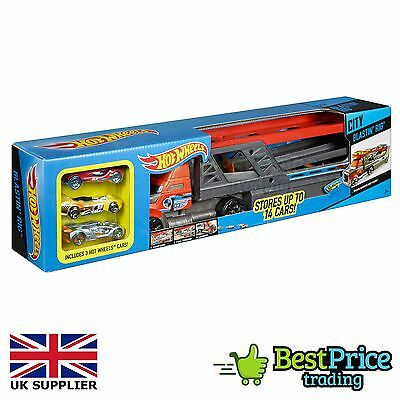 Hot Wheels City Blastin' Rig Includes 3 Cars & Stores Up To 14 *BRAND NEW SEALED