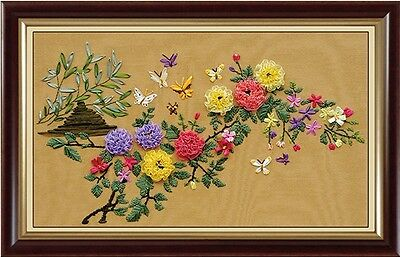 Ribbon Embroidery Kit Flowers and Butterflies Needlework Craft Kit RE1016