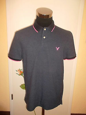 rare true vintage American Eagle Outfitters polo shirt polohemd grau/pink Gr.L