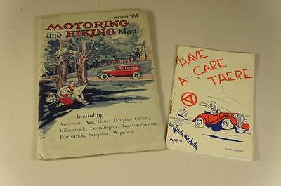 Vintage Motoring & hiking map Scotland Section SM + AA Have a care there booklet