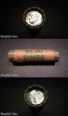 (50) 1955 Roosevelt Dime Shotgun Roll ~ BU Uncirculated ~ 90% Silver Coin Lot