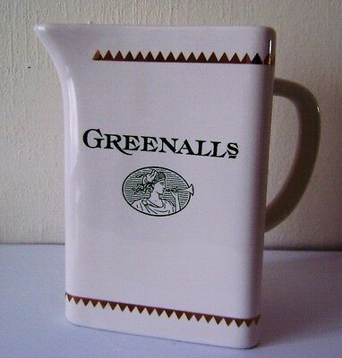 Greenall's Label Vintage Water Whisky Tricorn Jug Pottery 6ins tall gilt finnish