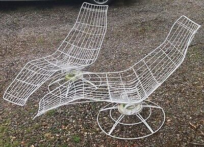 Mid Century Modern Homecrest Patio Chaise Lounge Chairs Pair Of 2