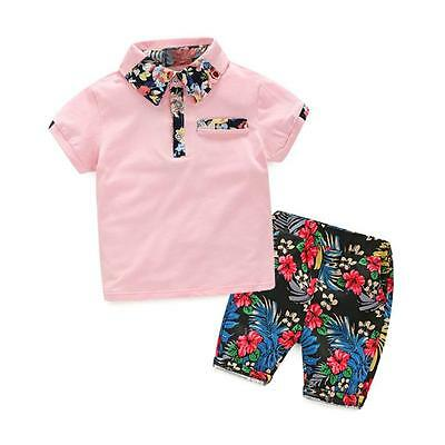 Summer Baby Boys Floral T-Shirt Tops  Short Pants Set Kids Clothes Outfits CA