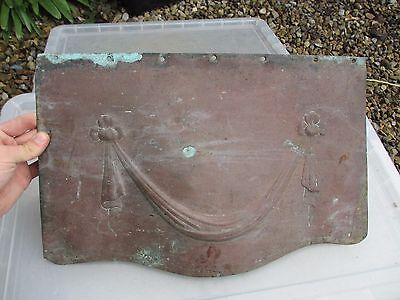 Victorian Copper Fire Hood Canopy Architectural Antique Fireplace Drape Ribbon