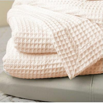 New Clair De Lune Waffle Super Soft Cotton Baby Cot Cotbed Blanket Cream
