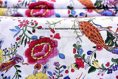 Indian Bird Hand Block Print Floral Cotton Fabric Dressmaking Sewing By Yard