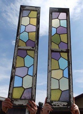 Pair Antique Leaded Stained Glass Windows Transom Shabby Sidelight Chic 426-17R