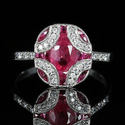 Ruby And Diamond Ring 18Ct White Gold Beautiful Cluster