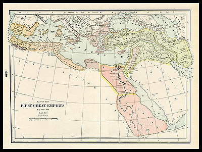 B.C. 3000 - 500 FIRST GREAT EMPIRES 1901 antique lithograph Historical Map