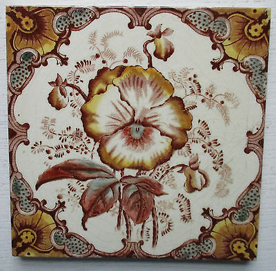Victorian Floral Tile In Very Good Condition