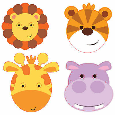 8 Jungle Friends Animals Children's Birthday Party Loot Favours Face Masks