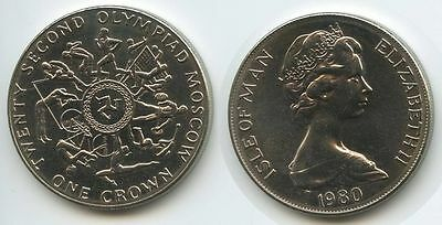GS153 - Isle of Man One Crown 1980 KM#65 Summer Olympics Moscow Russland