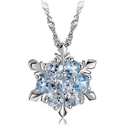 Solid 925 Sterling Silver Zircon Snowflake Necklace Jewelry Xmas Gift For Her