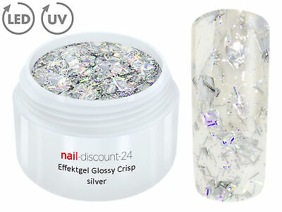 UV CRISP Effekt Gel SILBER 5ml Glitzergel Farbgel Color Nailart Modellage Nägel
