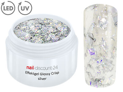 UV LED GEL CRISP Effekt SILVER Glitzer Farb Color Nail Art Modellage Nail Silber