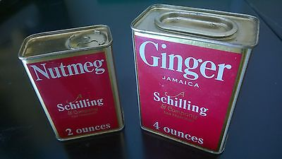 Vintage Schilling Spice Tin - 4 ounces Ginger & 2 ounces Nutmeg