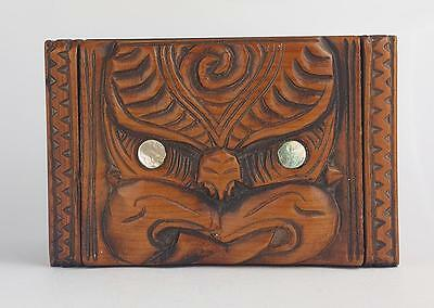 Stunning MAORI TIKI CARVED WOOD JEWELLERY / TRINKET BOX c1930 NEW ZEALAND