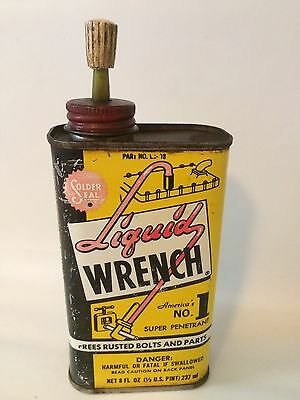 Vintage Liquid Wrench Oil Tin Can 8oz Empty