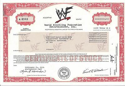 World Wrestling Federation Entertainment Inc...2001 Stock Certificate