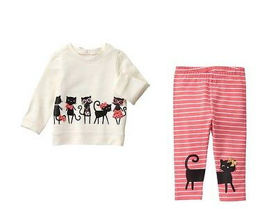 NWT Gymboree KITTY IN PINK SZ 3T 4T Kitty Pals Pullover Top & Striped Leggings