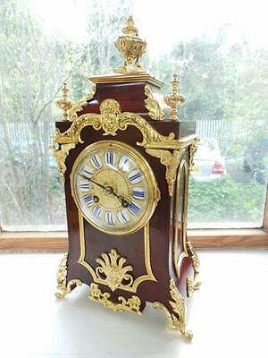Superb Antique French 8 Day Bronze Boulle Red Mantel Clock - Rococo Mantle Clock