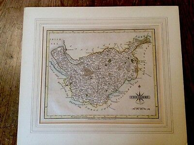 Antique Map of CHESHIRE by John Cary 1793, Hand Coloured 26x21cm. Mounted