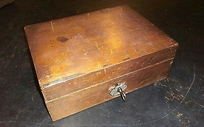 A Small Vintage Lockable Wooden Box With Key For Restoration